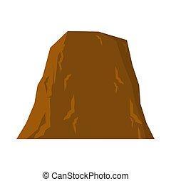montagne, isolated., illustration, arrière-plan., vecteur, rocher, blanc