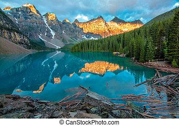 montagne, jaune, lac moraine, paysage