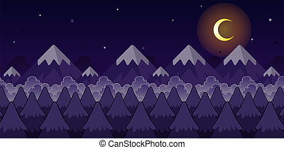 montagne, jeu, fond, nuit