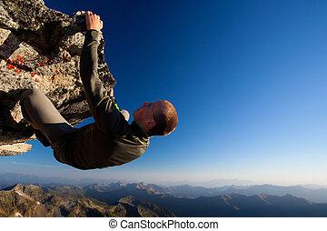 montagne, jeune, élevé, gamme, au-dessus, escalade, homme