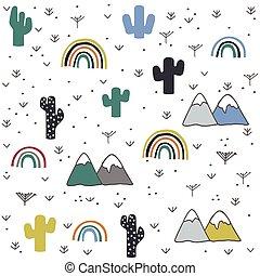 montagne, main, modèle, dessiné, arc-en-ciel, cactus
