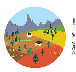montagne, mignon, ferme, -, automne, conception, paysage