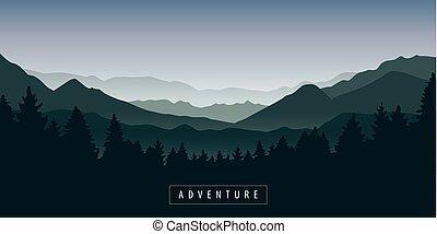 montagne, nature, forêt verte, brumeux, paysage
