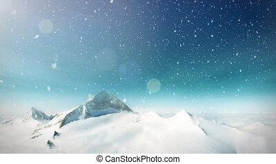 montagne, neige, boucle