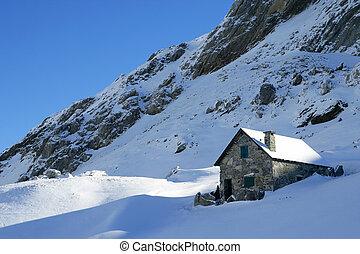 montagne, neige, maison