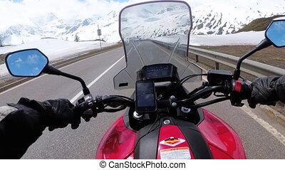 montagne, neigeux, motocycliste, promenades, route, paysage, beau, alpes, suisse