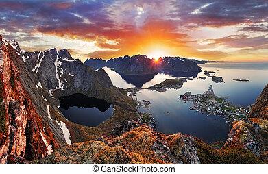 montagne, norvège, coucher soleil, paysage, côte
