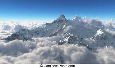 montagne, nuages, neige