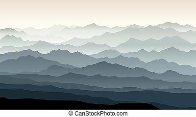 montagne, paysage., illustration, matin, horizontal, brumeux