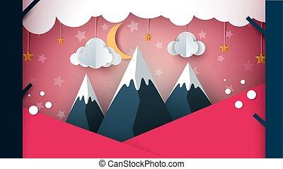 montagne, paysage., lune, -, papier, arbre., nuage, dessin animé, montagne