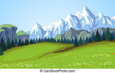 montagne, paysage.