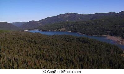 montagne, prise vue aérienne, lac