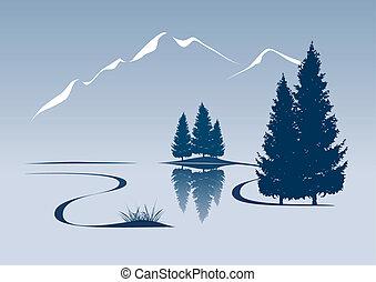 montagne, projection, illustration, stylisé, paysage rivière