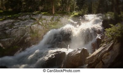 montagne, rivière, (1216, chute eau, boucle