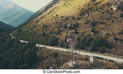 montagne, road., conduite, jeep, voiture, en mouvement, fond, long