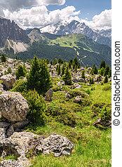 montagne, rocheux, scénique, arbre, paysage vert