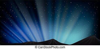montagne, scène, fond, nuit