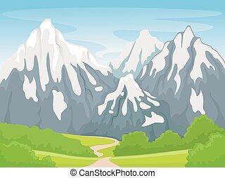 montagne, scène, neigeux