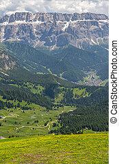 montagne, scénique, ciel, colline verte, sous, paysage