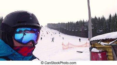 montagne, selfie, ascenseur, station sports hiver