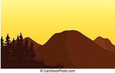 montagne, silhouette, coucher soleil, grand
