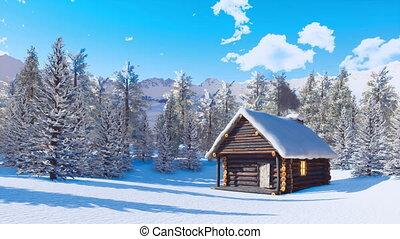 montagne, snowbound, confortable, jour clair, cabine, hiver