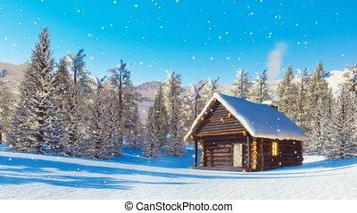 montagne, snowbound, hiver, chute neige, jour, cabine