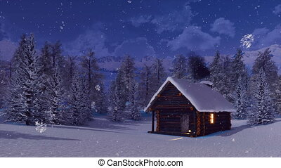montagne, snowbound, hiver, chute neige, nuit, cabine