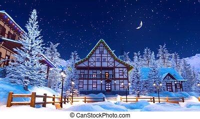 montagne, snowbound, hiver, nuit, village, alpin