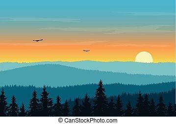 montagne, soleil, ciel, illustration, matin, vecteur, levée, brouillard, sous, orange, paysage, forêt