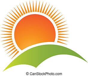 montagne, soleil, logo, vecteur, colline