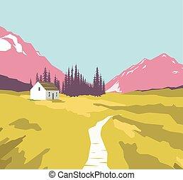 montagne, solitaire, paysage, maison