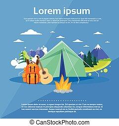 montagne, tente, expédition, touriste, camping, forêt