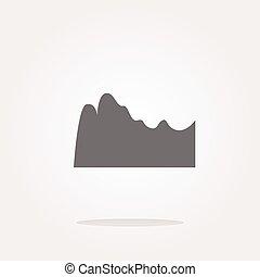 montagne, toile, isolé, vecteur, lustré, fond, blanc, icône