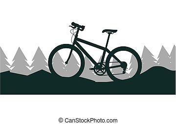 montagne, vélo, paysage, arbres, nature