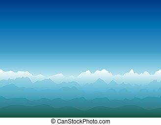montagne, vaste, paysage, horizon