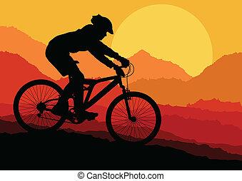 montagne, vecteur, faire vélo, fond, affiche