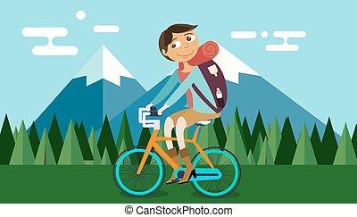 montagne, vecteur, vélo, nature, illustration, vélo, forêt, fond, équitation, homme