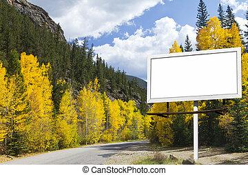 montagne, vide, automne, panneau affichage, long, route