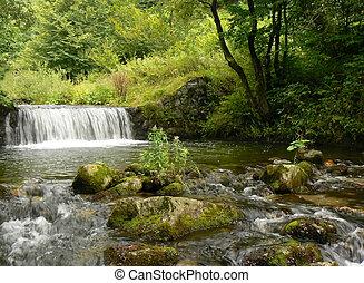 montagne, waterfall., rivière, stream.