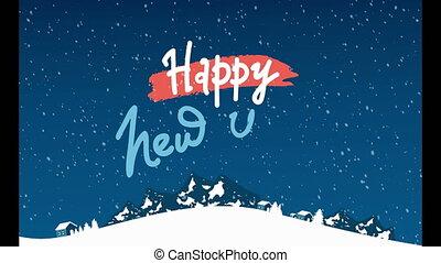 montagnes, élégant, année, animation, paysage, joyeux, beau, nouveau, noël, carte postale, bannières, heureux, fond, neige, &, sapins, background/