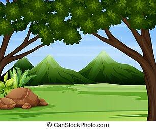 montagnes, élevé, illustration, forêt, vert, travers