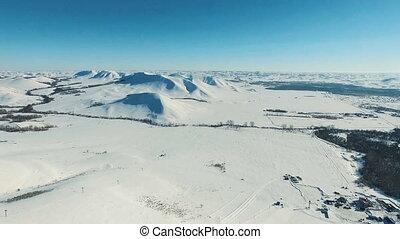 montagnes, aérien, champs, resort., coup, ski
