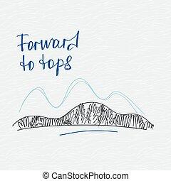 montagnes, affiche, vecteur, en avant!, tops., logo.
