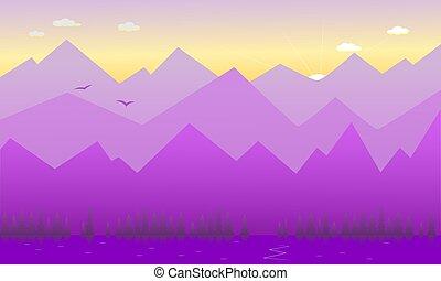 montagnes., aube