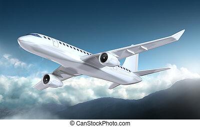montagnes, avion, voler, au-dessus