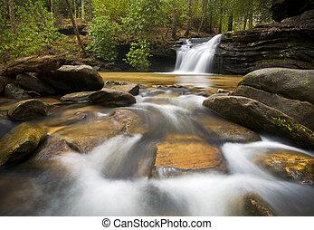 montagnes bleues, arête, délassant, nature, photographie, paisible, eau, chute eau, écoulement, sc, image, paysage