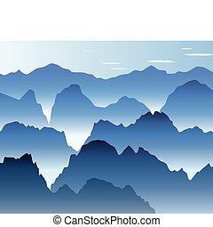 montagnes bleues, brume, matin