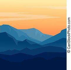 montagnes bleues, crépuscule
