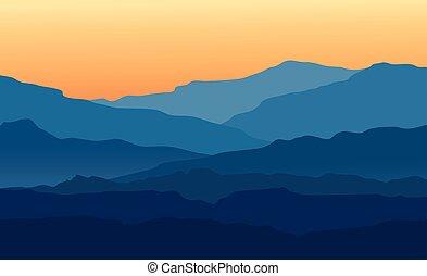 montagnes bleues, crépuscule, paysage